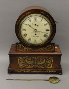 A 19th century brass inlaid rosewood fusee mantle clock, the dial inscribed 'Brockbank London'.