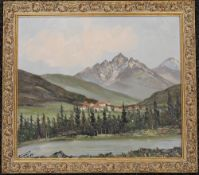 Alpine Scene, oil on board, indistinctly signed, framed. 38 x 33.5 cm.