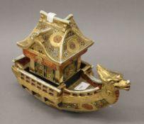 A Satsuma model boat. 29 cm long.