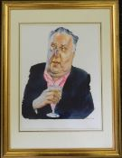 JAMES FERGUSON, Frederick Forsyth, pen, ink and watercolour with bodycolour, framed and glazed. 30.