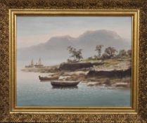 L HONG (20TH CENTURY), Boats by the Shore, oil on canvas, framed. 29 x 22.5 cm.