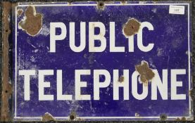 An original Public Telephone double sided enamel sign. 48 x 30.5 cm.