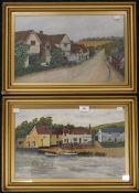SUFFOLK SCHOOL (circa 1900), Pin Mill on the River Orwell and a Suffolk Village Scene,