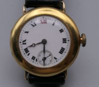 A Longines 9 ct gold wristwatch. 3 cm wide. 31.8 grammes total weight.
