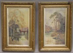 Two oils on canvas, River Scenes, initialled MB, dated 1913, framed. 24 x 44 cm.