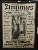 A Roslyn House Galleries advertising poster, framed and glazed. 54.5 x 76.5 cm.