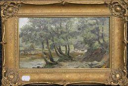 HENRY THOMAS JARMAN (1871-1956), Fishermen on a Riverbank, oil on board, framed. 28 x 16 cm.