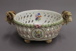 A Meissen porcelain reticulated centre bowl. 37 cm wide.