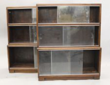 A pair of Minty mahogany bookcases. Each 89 cm wide.