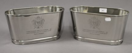 A pair of small Lily Bollinger wine coolers. 29.5 cm wide.