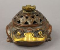 A Chinese bronze frog censer. 10 cm high.