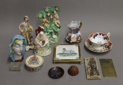 Three Staffordshire figures, various other ceramics, etc. The largest 20 cm high.
