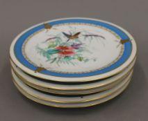 Five Victorian porcelain dessert plates. 22.5 cm diameter.
