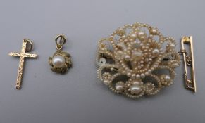 A Victorian seed pearl set brooch in a tooled leather box,