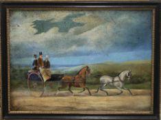 An antique oil on board, Horse and Trap with Passengers, framed. 39 x 28 cm.