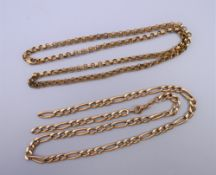A 9 ct gold chain (6.6 grammes) and a gold plated chain with 9K clasp (11.5 grammes).