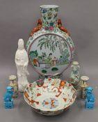 A quantity of Oriental ceramics. The largest 45 cm high.