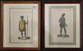 Two 19th century coloured ethnographical prints, each framed and glazed. Each 14 x 22 cm.