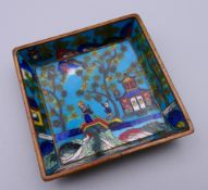 A small Chinese cloisonne tray. 6.5 cm wide.
