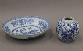 An 18th century Chinese blue and white porcelain bowl and a 19th century blue and white porcelain
