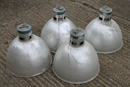 Four large industrial light shades. 48 cm diameter.