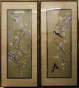A pair of framed Chinese silk work pictures. 134 x 60.5 cm overall.