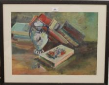 Still Life of Books, watercolour and gouache, indistinctly signed, framed and glazed. 48.5 x 36 cm.
