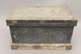 A 19th century carpenters trunk. 96 cm wide.