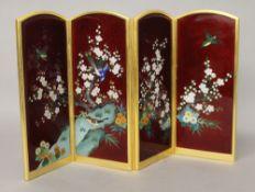 A Japanese enamel table screen. 18.5 cm high.