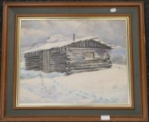KEN SOWELL, North American Cabin, oil on canvas, framed. 49 x 39 cm.
