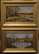 LESLEY LANGLEY (20th century) British, oils on card laid down, a pair, signed, framed. Each 24.