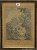 A 19th century French coloured print, LES SABOTS, framed and glazed. 27 x 37.5 cm.