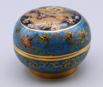 A small Chinese cloisonne box. 3.5 cm high.