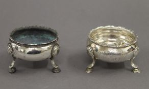 Two Georgian silver salts. Each approximately 6 cm diameter. 4.4 troy ounces.