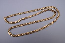 A 9 ct gold chain. 55 cm long. 23.6 grammes.