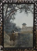 A Chinese picture in a carved wooden framed, possibly Hongmu. 31 x 42.5 cm.