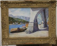 CONTINENTAL SCHOOL, Boats Under Arch, oil on board, framed. 40 x 28 cm.