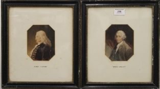 18TH CENTURY, a pair of portraits, Thomas Smollett and Henry Fielding, watercolour, unsigned,