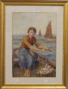 JULIAN E DRUMMOND (1824-1906) British, Fisher Girl, watercolour, signed and dated 1898,