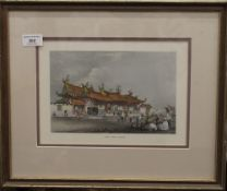 A print of Chinese Temple Singapore, framed and glazed. 28 x 19.5 cm.