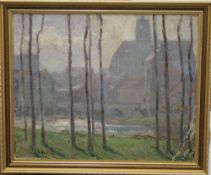 J STUKER, French River before a Town, oil, signed and dated 28, framed. 38.5 x 31 cm.