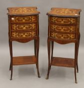 A pair of 19th century style inlaid bedside drawers. Each 36 cm wide.
