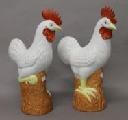 A pair of Chinese porcelain chickens. 41 cm high.