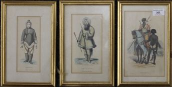 Three 19th century coloured ethnographical prints, each framed and glazed. The largest 20.5 x 13 cm.