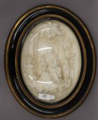 A Victorian framed figural scene, in a glazed bow fronted case. 40 cm high.