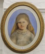 A Victorian pastel portrait of a young girl,