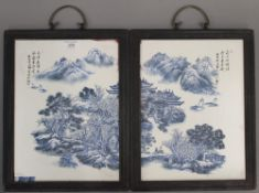 A pair of Chinese blue and white plaques. 37 cm high.