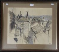 PATRICK COLLINS, Fowey, Cornwall 1978, pen, ink and watercolour, framed and glazed. 47 x 38.5 cm.