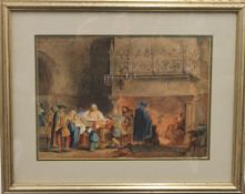 After GEORGE CATAMOLE, The Banquet Hall, watercolour, signed WARDEN, framed and glazed. 35 x 25.
