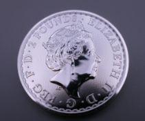 A silver one oz 2020 Britannia 2 pound coin